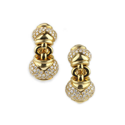 Bulgari Diamond and Gold Ear Pendants