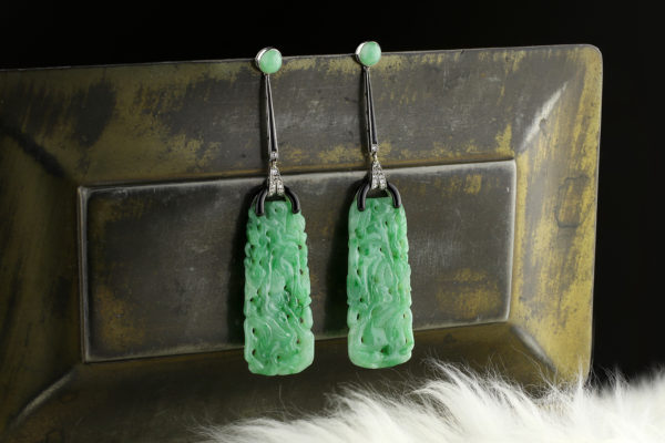 Jadeite, Diamond, Onyx And Enamel Ear Pendants