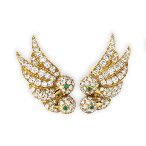 Van Cleef & Arpels Diamond and Emerald Ear Clips