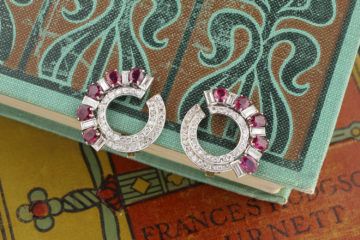 Ruby And Diamond Ear Clips