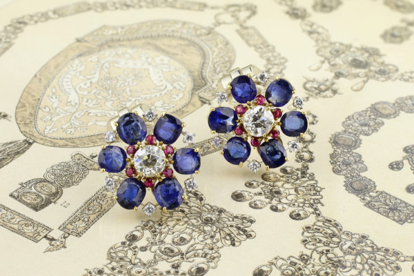 Raymond Yard Sapphire, Ruby And Diamond Ear Clips
