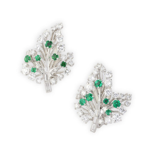 Cartier Emerald and Diamond Ear Clips