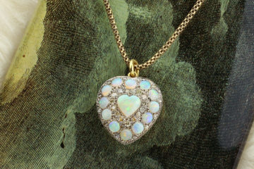 Opal And Diamond Heart Shaped Pendant Necklace