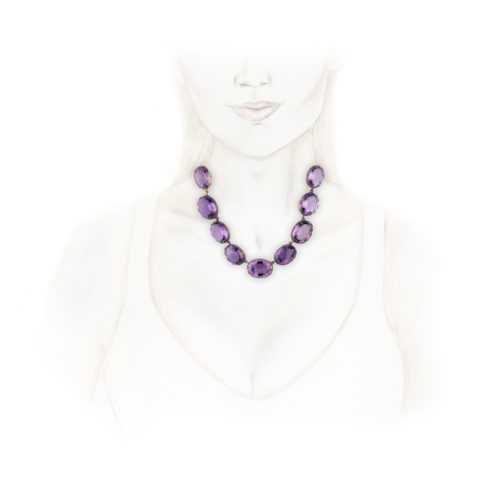 Antique Amethyst Riviere Necklace