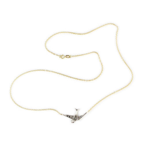 Diamond and Ruby Set Swallow Pendant Necklace