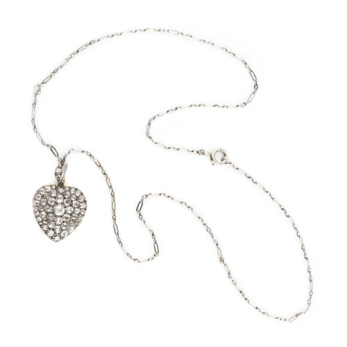Antique Diamond Set Heart Locket Pendant Necklace
