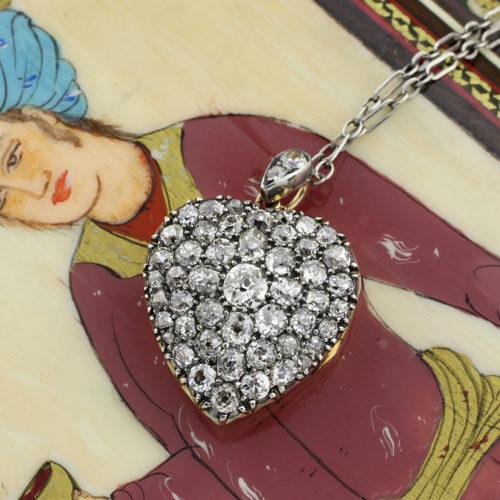 Antique Diamond Set Heart Locket Pendant Necklace