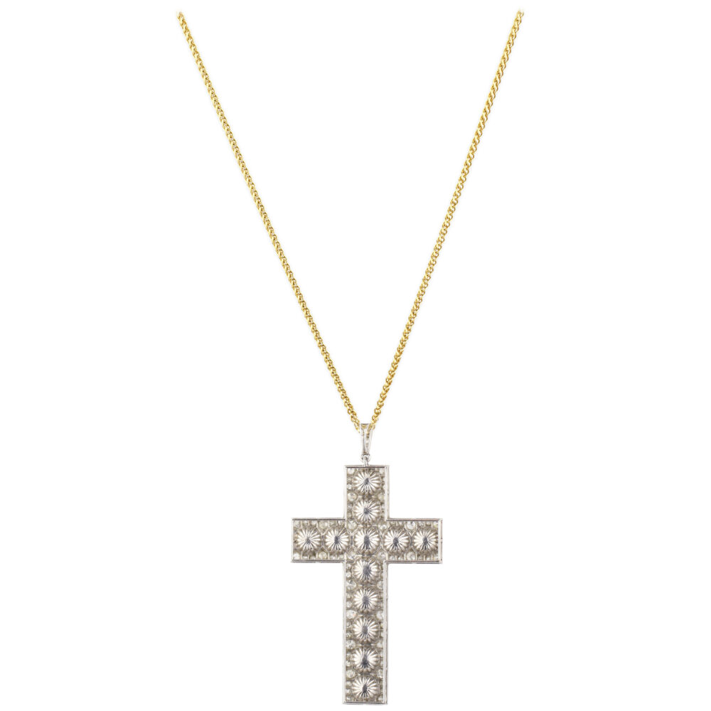 Diamond, Pearl and Platinum Cross Pendant