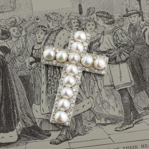Diamond, Pearl and Platinum Cross Pendant