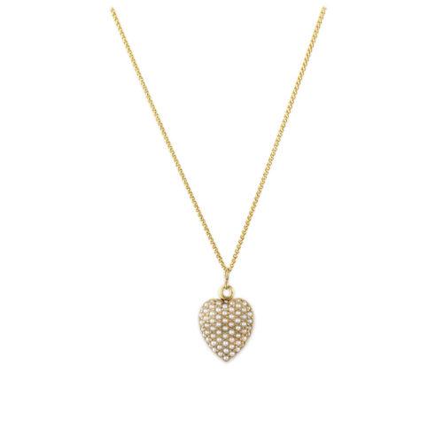 Antique Seed Pearl Heart Shaped Locket Pendant