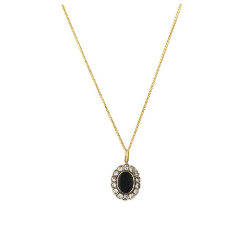 Antique Agate and Diamond Locket Pendant