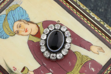 Antique Agate And Diamond Locket Pendant