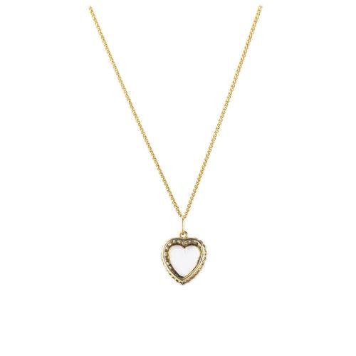 Antique Moonstone and Diamond Heart Shaped Pendant