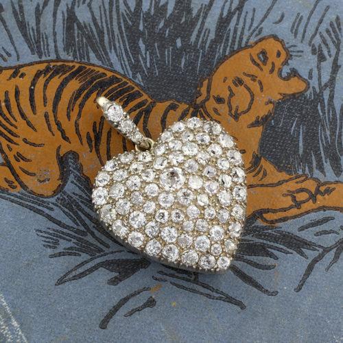 Antique Diamond Set Heart Pendant