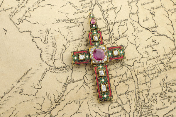 Renaissance Revival Enamel, Diamond And Ruby Cross Pendant