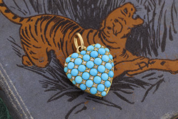 Turquoise, Diamond And Gold Heart Pendant