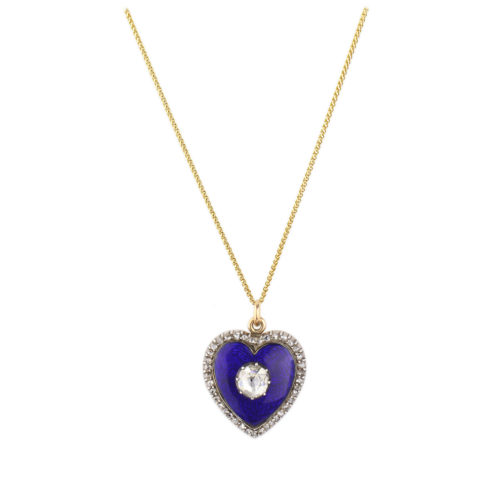 Antique Diamond and Enamel Heart Pendant