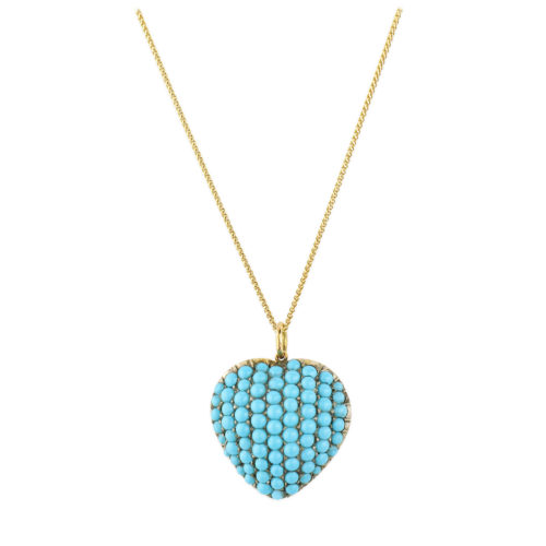Antique Turquoise Set Heart Shaped Pendant