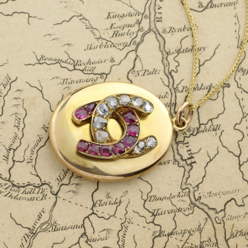 Victorian Ruby and Diamond Horseshoe Locket