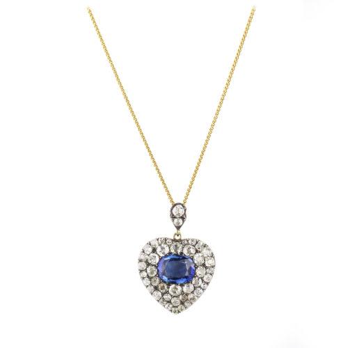 Antique Sapphire and Diamond Heart Shaped Pendant