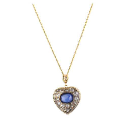Antique Sapphire and Diamond Heart Shaped Pendant