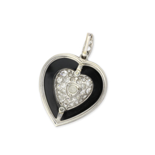 Diamond, Onyx and Platinum Heart Pendant