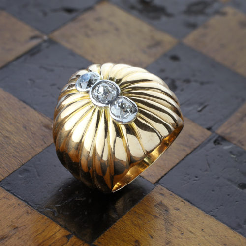 Gold and Diamond Bombe Ring