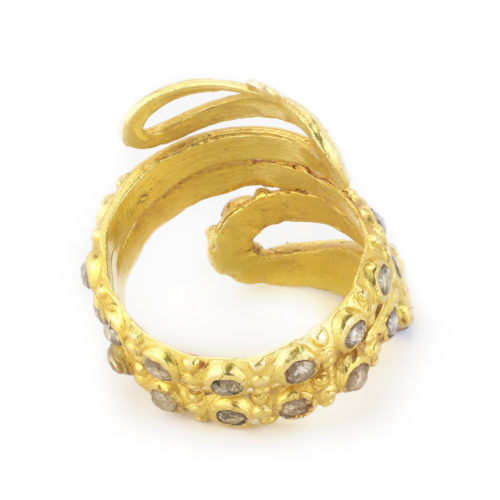 Multi-Gem Gold Snake Ring