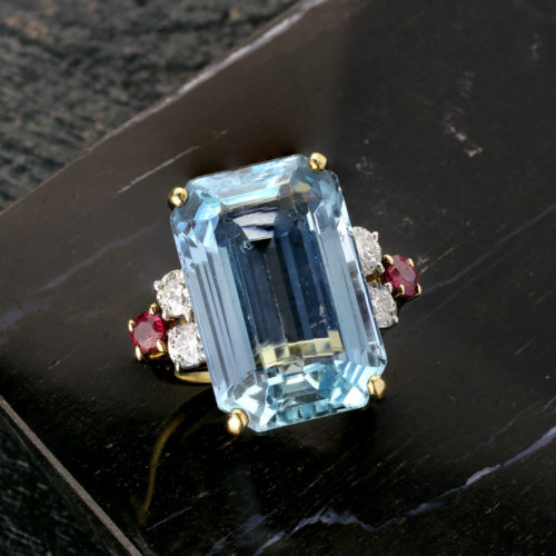 Aquamarine, Diamond and Ruby Ring Mounted by Cartier