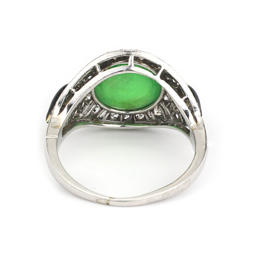 Art Deco Jade, Enamel and Diamond Ring