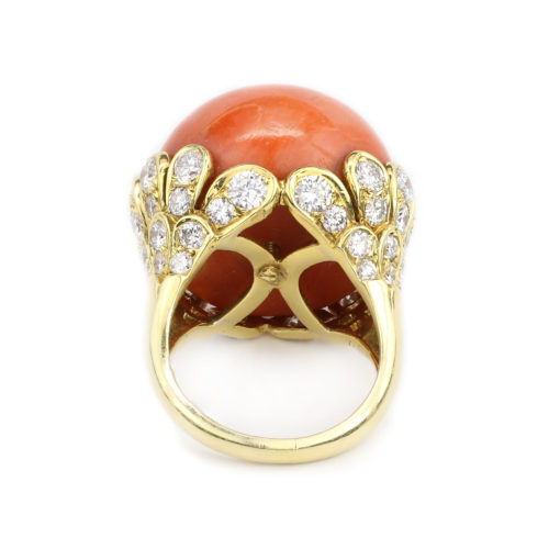 Van Cleef & Arpels Coral and Diamond Ring