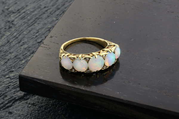 Antique Opal And Diamond Band Ring