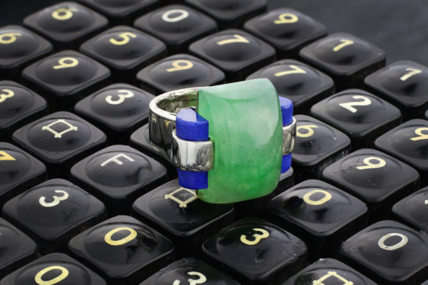 Andre Schwoba Jade, Lapis Lazuli And Gold Ring