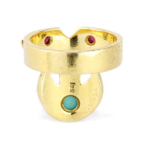 Cartier Turquoise, Ruby and Sculpted Gold Ring