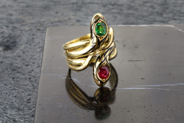 Ruby And Demantoid Garnet Double Snake Ring