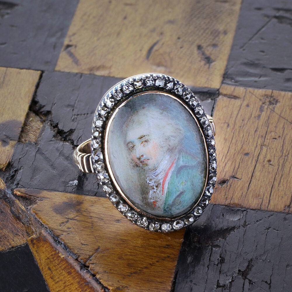 Georgian Silver Topped Gold Portrait Ring