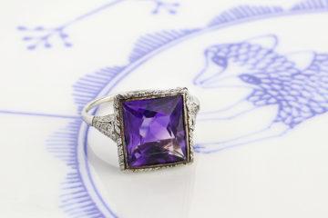 Edwardian Amethyst And Diamond Ring