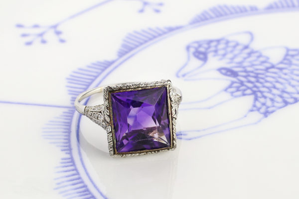 Edwardian Amethyst And Diamond Ring