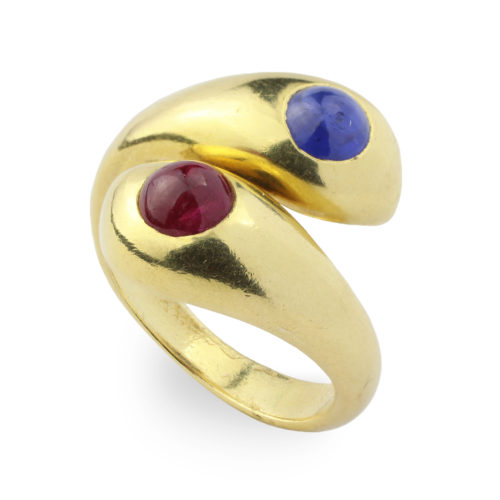 Hemmerle Sapphire and Ruby Ring
