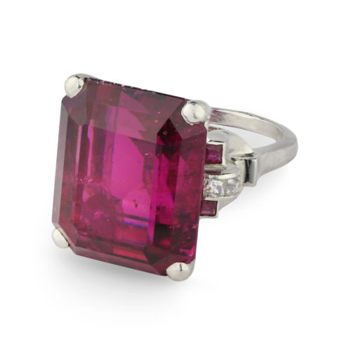 A Tourmaline, Ruby and Diamond Ring
