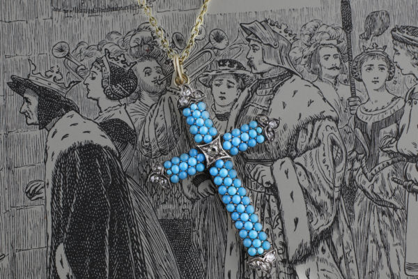 Antique Turquoise And Diamond Cross Pendant Necklace