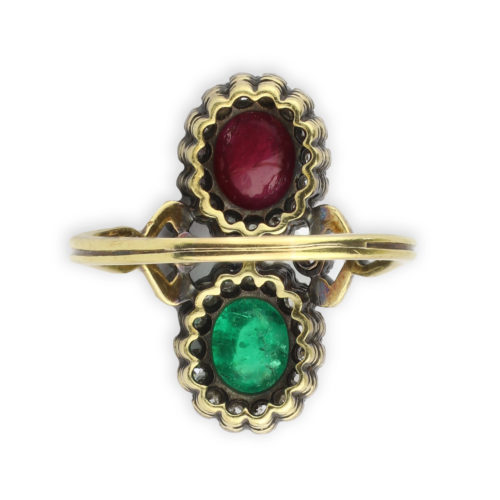 Antique Emerald, Ruby and Diamond Ring