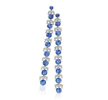 A Pair Of Ceylon Sapphire And Diamond Ear Pendants, By SABBA