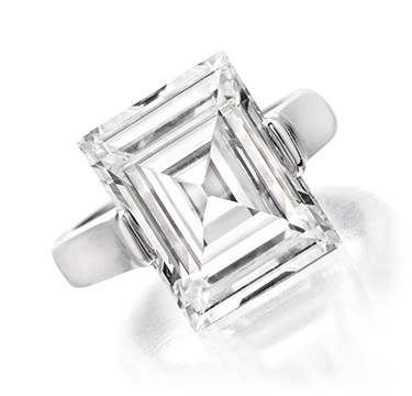 A Carre-cut Diamond Ring, weighing 7.43 carats, F Color, VS2 Clarity