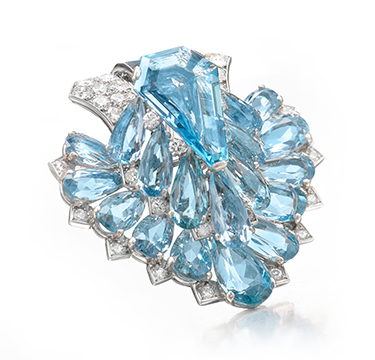 An Important Art Deco Aquamarine and Diamond Clip Brooch, by Cartier, circa 1935