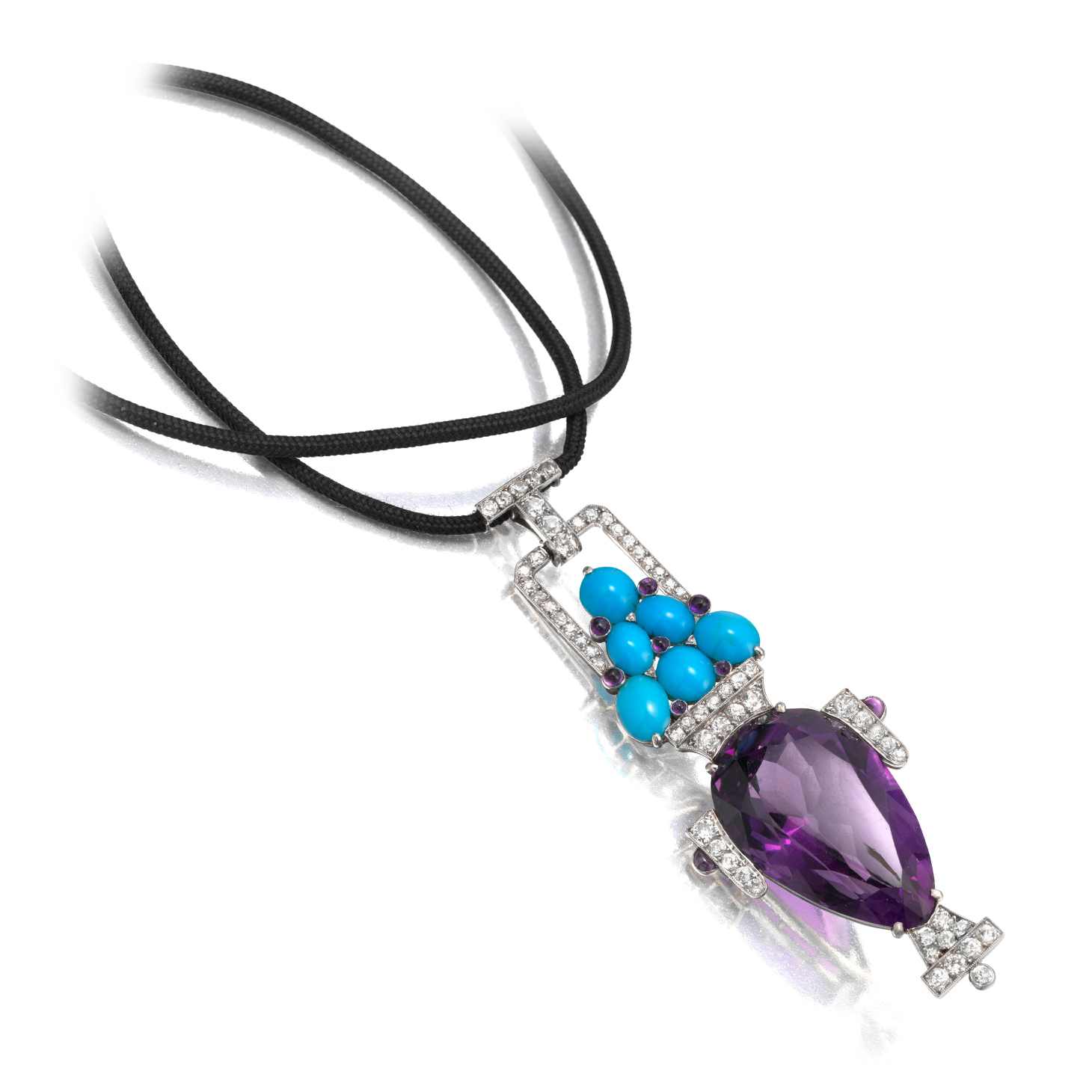 An Important Art Deco Turquoise, Amethyst and Diamond Pendant, by Cartier, circa 1915