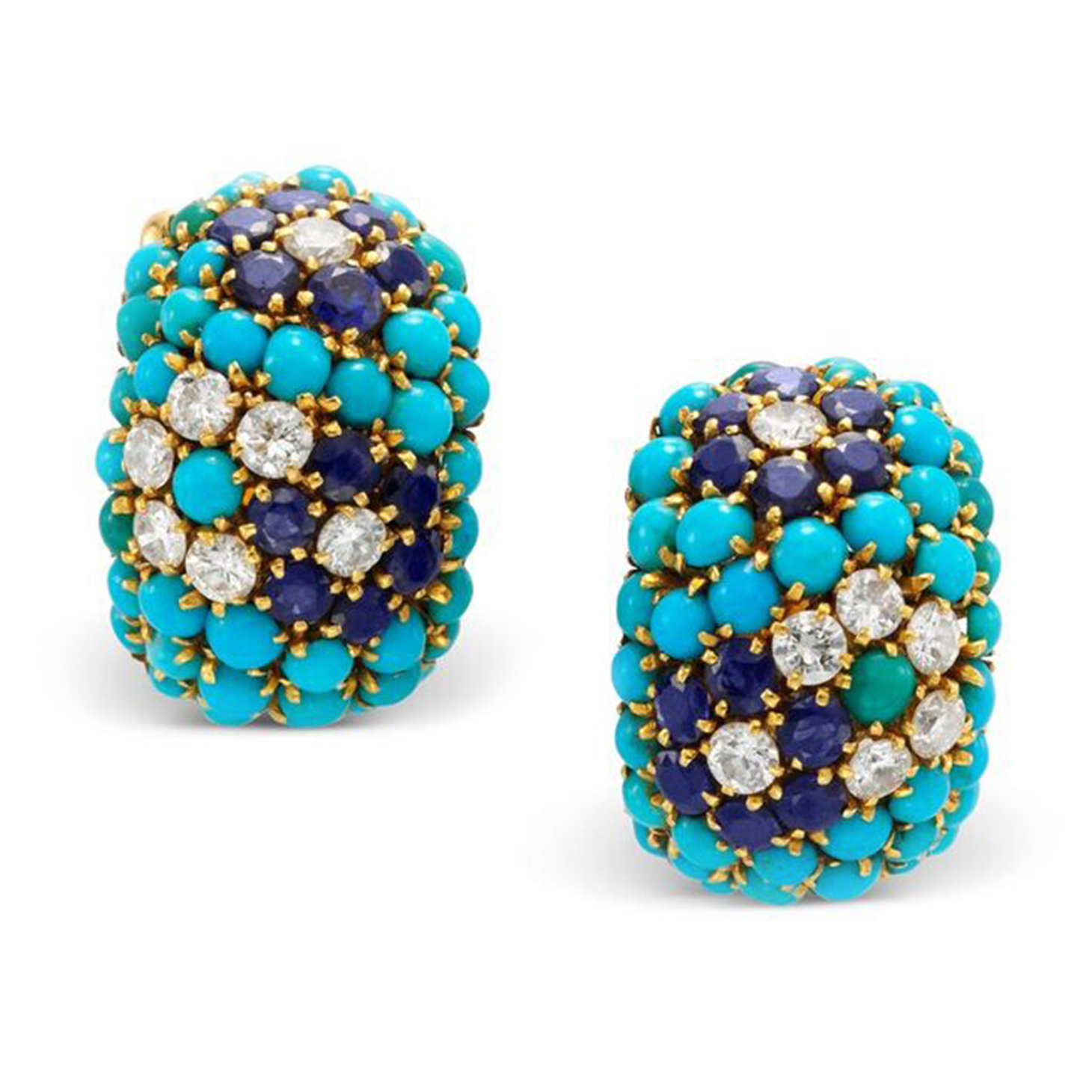 A Pair of Turquoise, Sapphire and Diamond Ear Clips, by Van Cleef & Arpels, circa 1960