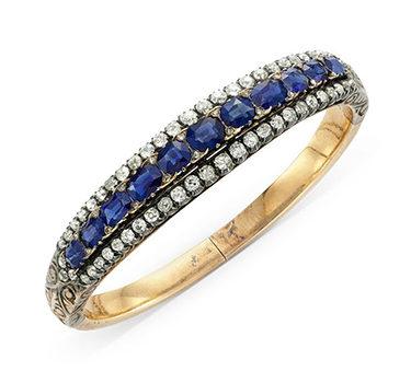 A 19th Century Sapphire And Diamond Bracelet
