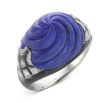 An Art Deco Lapis Lazuli, Enamel And Diamond Ring, By Boucheron, Circa 1925