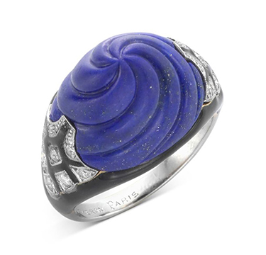 An Art Deco Lapis Lazuli, Enamel and Diamond Ring, by Boucheron, circa 1925